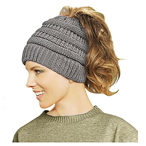 Lamdgbway Trendy Knit Hat Cable Beanie Stretch Chunky Warm Messy Ponytail Bun Hat Deep Grey Chunky Cable Hat