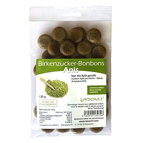 Birkenzucker-Bonbons Anis (Xylit Bonbons) ohne Zucker, nur mit finnischem Xylit gesüßt, 100% Fruchtpulver, 130 g