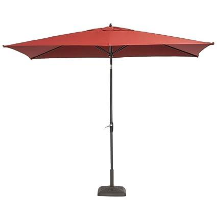 10 Ft. X 6 Ft. Aluminum Patio Umbrella In Dragon Fruit