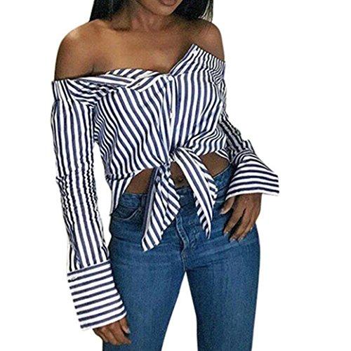 a5ef76c4379d Hemd Damen, Bekleidung Longra Frauen aus Schulterfrei Striped Bluse Langarm Shirt  Kleidung Casual Oberteil Tops