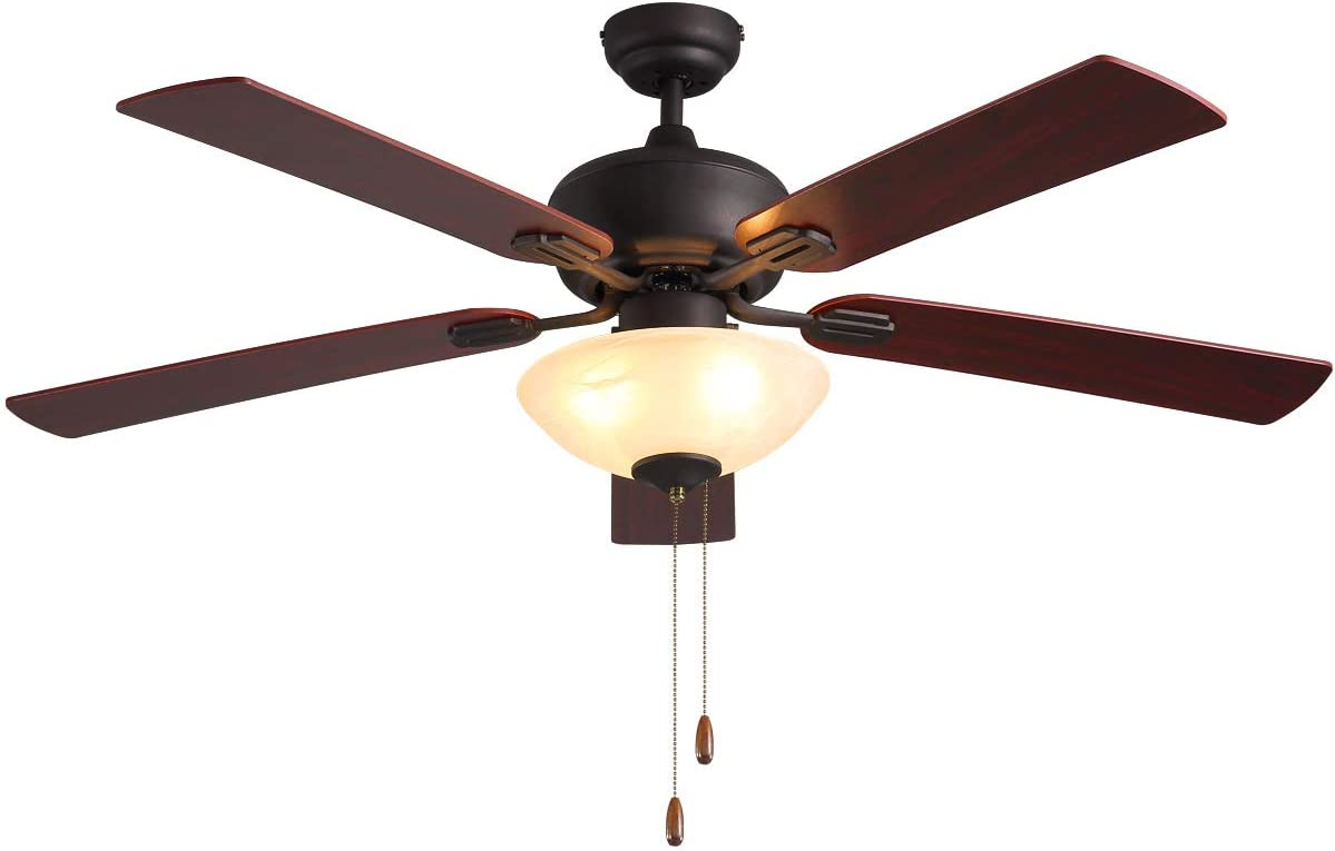 Amazon Com Ceiling Fan With Light 52 Inch Brown 5 Leaf Flush Mount Indoor Ceiling Fan Light Etl Listed For Living Room Dining Room Kitchen Restaurant Motor Reversibly Accumulates Heat In Winter Kitchen Dining