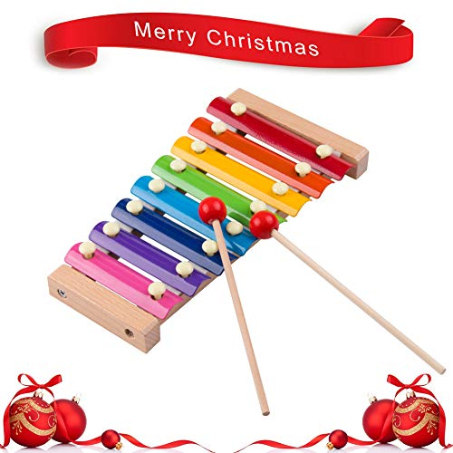 Keys Xylophone Children's Music Initiation Toy Wooden 8 Colors & Tones Hand Knock with Mallets