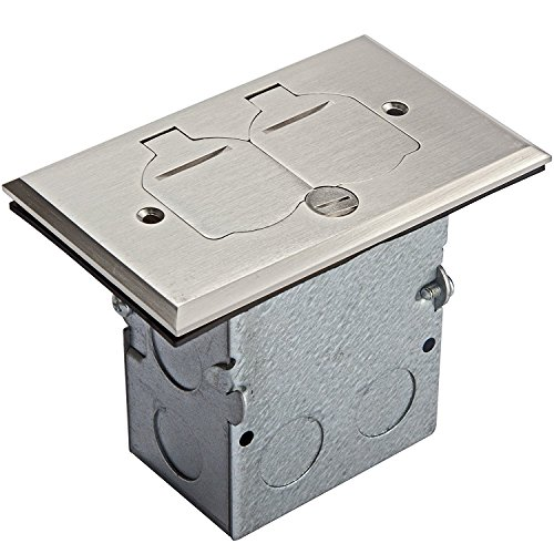 Enerlites 975507-S Nickel Plated Brass Cover Floor Box Kit, 1 Gang 20A Tamper-Weather Resistant Duplex Receptacle, UL Listed