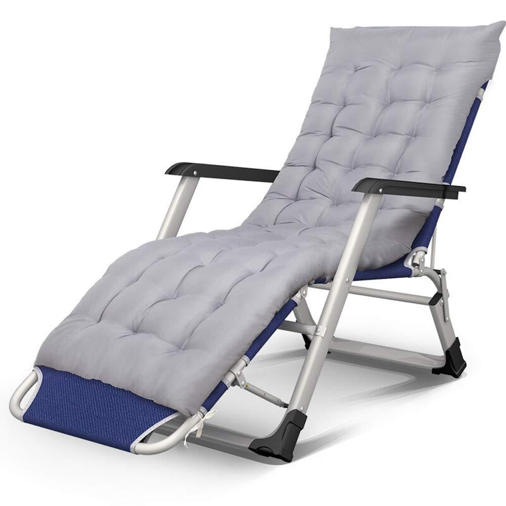 MISHUAI Klappbett, Folding Camping Cot Büro Nap mit Auflage Bett for Innen Büro Balkon Terrasse Garten Strand Außen Einfache Stapelung und Lagerung (Farbe : Grau, Größe : 175x52x30cm)