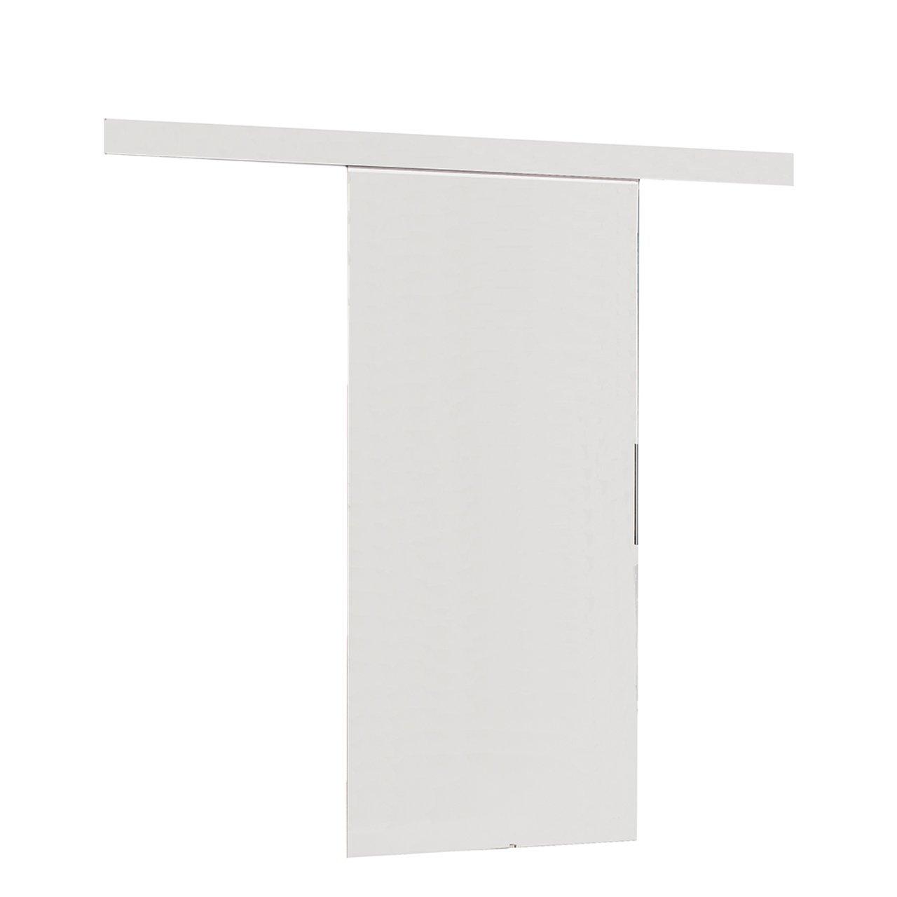 Mirjan24  Schiebetürsystem Multi Komplett-Set für Schiebetüren mit Bodenführung Abstandsführung Trennwände Innentüren (Dunkel Esche, Modell 80, mit Selbstschließer)