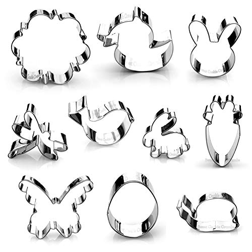 (Spring Easter Cookie Cutter Set - 10 Piece Stainless)