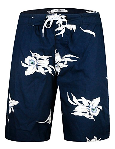 ELETOP Men's Swim Trunks Quick Dry Board Shorts Beach Holiday Swimwear Print Bathing Suits Flower Navy EHS016-M