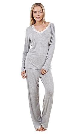 de055c481d Wunderschöner weicher Damen-Schlafanzug Zweiteilig Langärmlig Schlafanzug  Frauen Spitze Nachtwäsche Grau 36