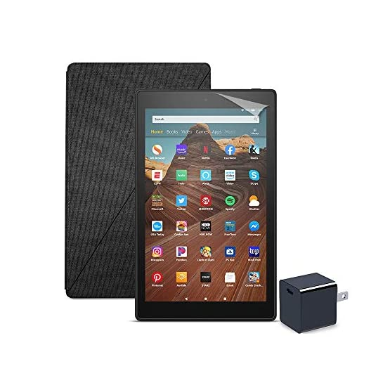Fire-HD-10-Tablet-64-GB-Black-With-Special-Offers-Amazon-Standing-Case-Charcoal-Black-Nupro-Screen-Protector-2-pack-15W-USB-C-Charger