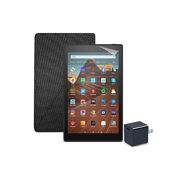 Fire HD 10 Tablet (64 GB, Black, With Special Offers) + Amazon Standing Case (Charcoal Black) + Nupro Screen Protector…