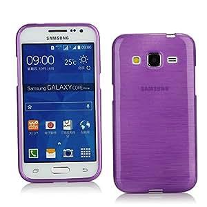 Kit Me Out ES ® Funda de Gel TPU + Cargador para el coche + Protector de pantalla con gamuza de microfibra para Samsung Galaxy Core Prime G360 - Violeta efecto cepillado