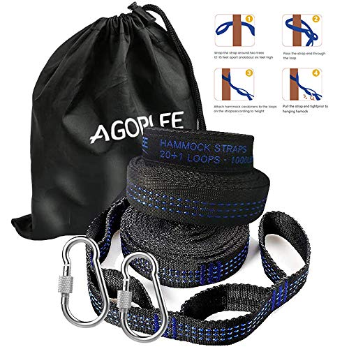 AGOPLEE Hammock Straps XL with Carabiners, Camping Hammock Tree Straps Set - Quick & Easy Setup for All Hammocks, 20 ft Long Combined, 40+2 Adjustable Loops, 2000 LBS Capacity, No Stretch Polyester