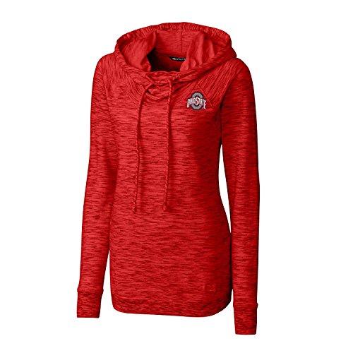 Cutter & Buck NCAA Ohio State Buckeyes Adult Women Long Sleeve Tie Breaker Hoodie, Medium, Red