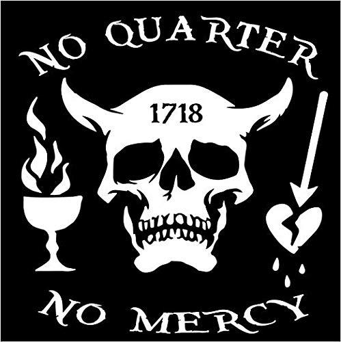 "Firehouse Graphics Blackbeard No Quarter 1718 Pirate Skull Crossbones Swords Nautical Vinyl Sticker Decal (5"")"