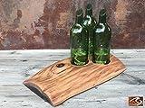 Centerpiece Mesquite Plank Round Top 3 Wine Bottle Art Candle Holder