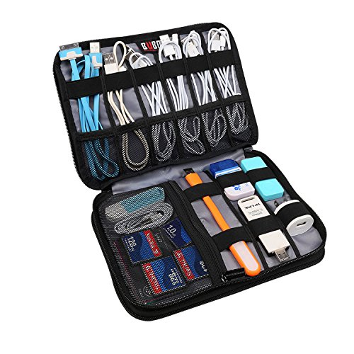 BUBM Double Layer Travel Gear Organizer / Electronics Accessories Bag (Medium, Black)