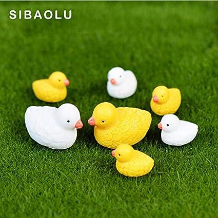 Store Decorative Pcs White Yellow Mom Son Ducks Miniature Figurine Cartoon Animal Home Decor