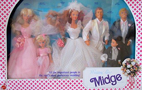 Barbie MIDGE WEDDING PARTY Gift Set w 6 DOLLS & More: BARBIE, KEN, MIDGE, ALAN, KELLY & TODD Dolls (1990) (Alan And Barbie Midge)
