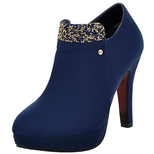 AicciAizzi Mujer Tacon Alto Vestido Tobillo Botas Glitters: Amazon.es: Zapatos y complementos
