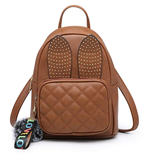 Women Leather Small Brown Ear Mini XB Rabbit Fashion Purse Girls for Backpack Bag Backpack Shoulder Cute xPaIqn0U