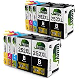 JARBO 2Set+2BK High Capacity Replacement For Epson 252 Ink Cartridge Black Cyan Magenta Yellow Worked with Epson Wf 3640 Wf 3630 Wf 3620 Wf 7610 Wf 7620 Wf 7110