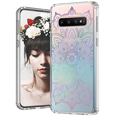 MOSNOVO Galaxy S10 Case, Gradient Rainbow Henna Mandala Pattern Clear Design Printed Transparent Plastic Back Case with TPU Bumper Protective Case Cover for Samsung Galaxy S10 ()