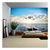 wall26 with Blue Water, Sky and Clouds. Sunset Above Seascape - Removable Wall Mural | Self-Adhesive Large Wallpaper - 66x96 inches