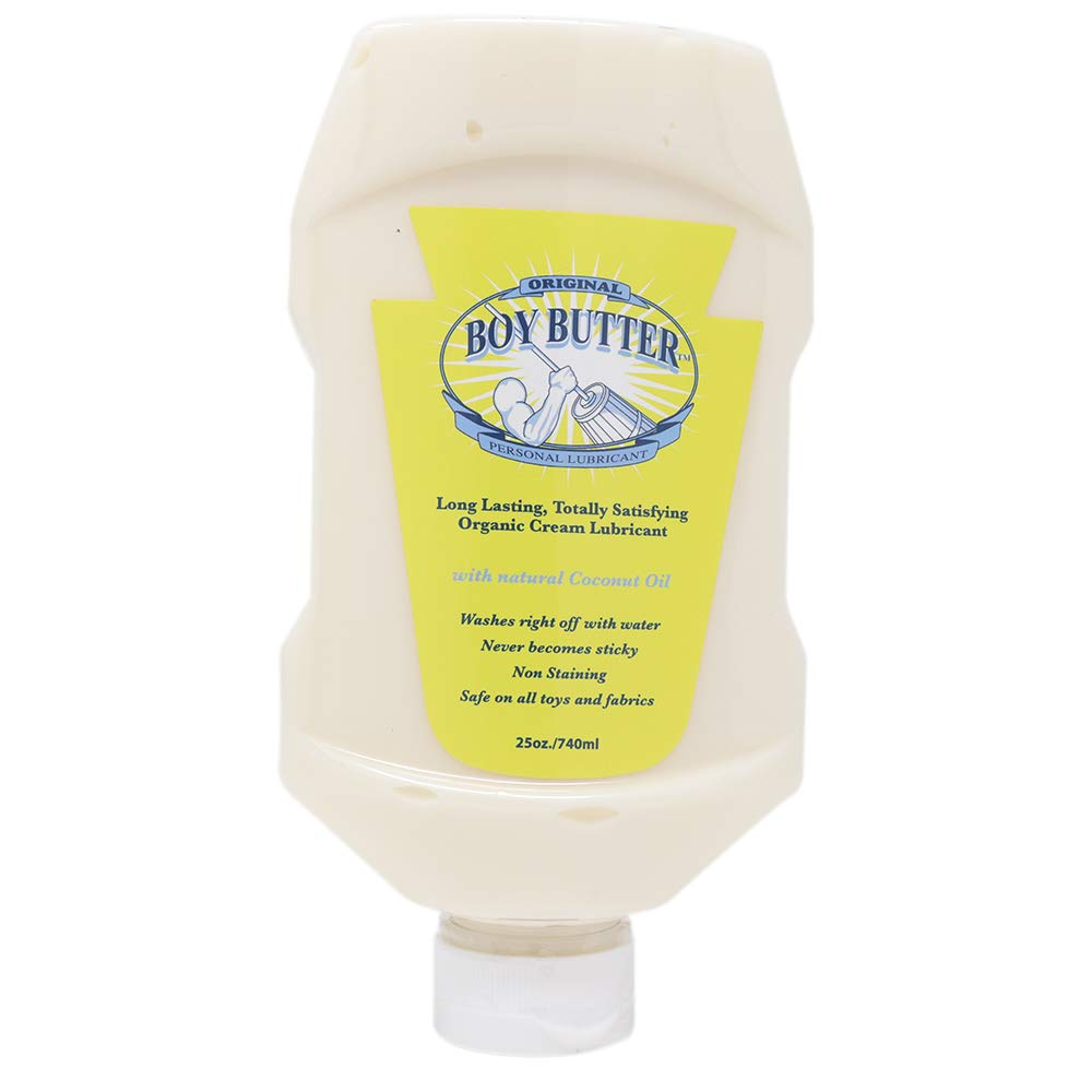 Boy Butter XL Personal Lubricant | Natural Coconut Oil & Organic Silicone | Non Staining, Washable & Slick Lube for Adult Men, Women & Couples | Original Formula Oil Based Cream Made in the USA | 25oz by Boy Butter