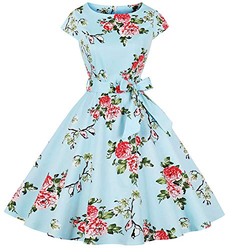 Womens 1950s Vintage Cap Sleeve Polka Dot Rockabilly Swing Dresses C70 (Blue Bird, XXL)