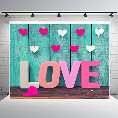 7x5ft Valentine's Day Photography Backdrop Vinyl Wood Photo Studio Background Colorful Love Background for - Camera Digital Booth Photo Diy