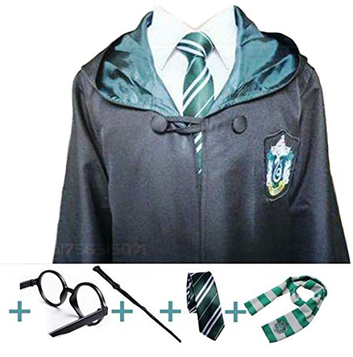 Mainstreet 247 Slytherin Cosplay with Robe, Wand, Glasses, Tie and Scarf Mult. Sizes (Large) ()