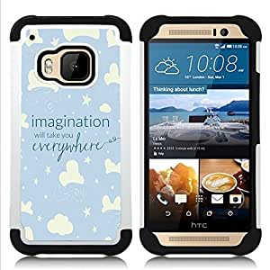 For HTC ONE M9 - sky night kid blue stars clouds Dual Layer caso de Shell HUELGA Impacto pata de cabra con im??genes gr??ficas Steam - Funny Shop -