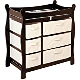 Badger Basket Sleigh Changing Table with 6 Baskets - Espresso, 9.5 inches W x 17.25 inches D x 7 inches H