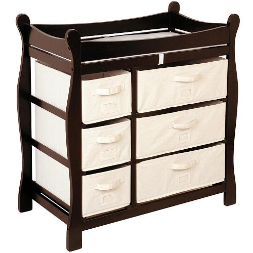 Badger Basket Sleigh Changing Table with 6 Baskets - Espresso, 9.5 inches W x 17.25 inches D x 7 inches H by Badger