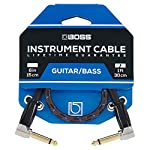 BOSS BIC-1AA Studio Grade Instrument Cable, Patch/Pedal Cable, Right-Angle 1/4 Inch Connectors, 1 ft/30 cm Length