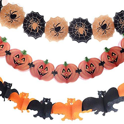 3Pcs Halloween Thanksgiving Paper Chain Garland Decoration Prop Pumpkin Orange Bat Yellow Black Spider For Home Kindergarten Shopping Mall Bar Haunted Houses Classroom -