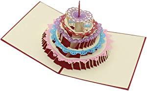 Pop Up Birthday Card, 3D Birthday Greeting Card, 5 Layers Cake with Cute Red Candle Pop Up Card for Birthday, Anniversary