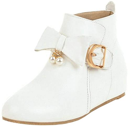 BeiaMina Mujer Dulce Arco Zapatos Botas Bajas Cremallera Plano Botines Botas Boots Invierno Zapatos Calzado Custome Sintético Cuero White Talla 45: ...