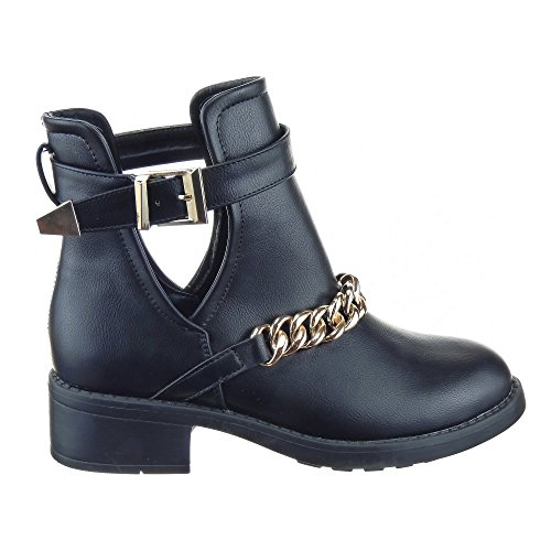 Sopily - Women's Fashion Shoes Ankle boots - Booty Low Boots - high-top - Low boots - Chains Heel Block Heel 4 CM - Black h2Ufw0d