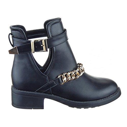Sopily - Scarpe da Moda Stivaletti - Scarponcini Low Boots Low boots donna Catena Tacco a blocco 4 CM - Nero