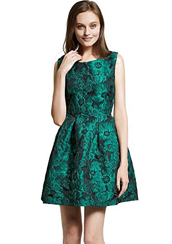 Floral Sleeveless Shorts (DanMunier Women's Sleeveless Floral Short Cocktail Party Swing Dress (XL, Green))