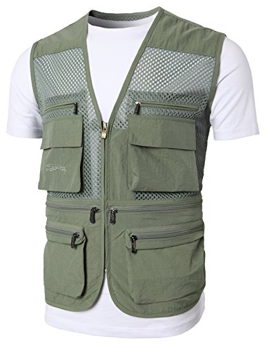 Hunting Vest Down (H2H Mens Casual Work Utility Hunting Travels Sports Vest with Multiple Pockets LIGHTKHAKI US 3XL/Asia 4XL (KMOV0149))