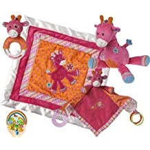 Mary Meyer Baby Girl Delight: Jasmine Giraffe Cozy and Activity Blankets, Toy, Rattle - Hot Pink Newborn Set of 4 Favorites with Bonus Animals Sticker
