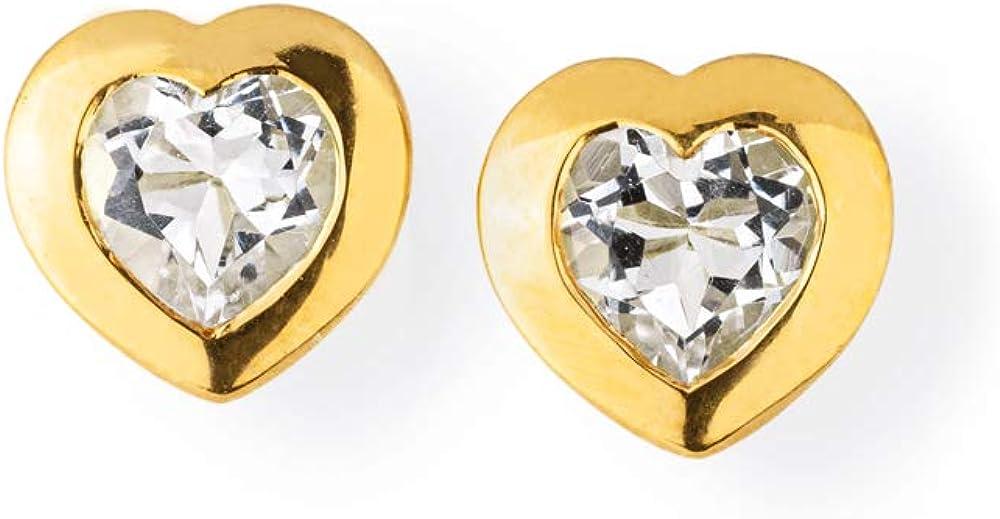 Drachenfels - Pendientes pequeños en forma de corazón de plata auténtica, bañados en oro con cristal de roca, colección Heartbreaker Stone, elegantes pendientes para mujer