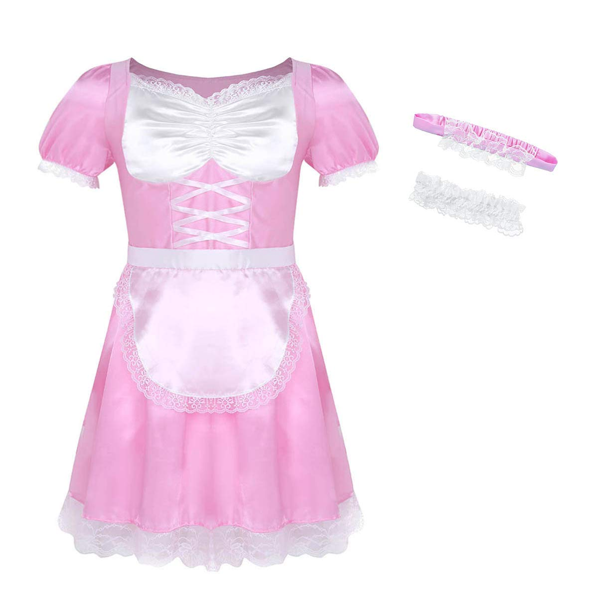 Yeahdor Men's 3Pcs Sissy Maid Uniform Lace Trim Naughty Fancy Dress Costume Pajama Lingerie Outfit
