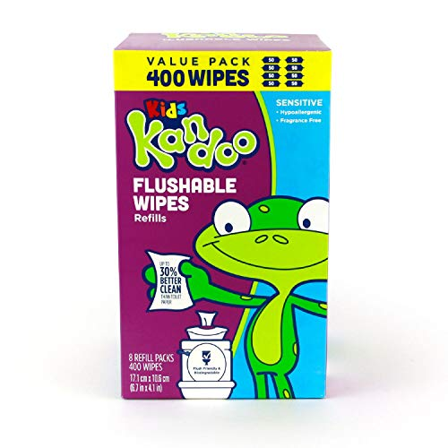 Kandoo Flushable Cleansing Wipes, Refill, Sensitive, 400 Count