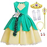 Princess Frog Costume Birthday Halloween Party Dress For Toddler Girls 5-6 Years (5T 6T)