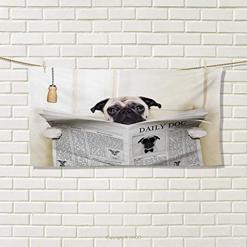 Chaneyhouse Pug,Travel Towel,Puppy Reading The Newspaper on The Toilet Bathroom Funny Image Pug Joke Print,100% Microfiber,Cream Black White Size: W 12'' x L 27.5'' by Chaneyhouse