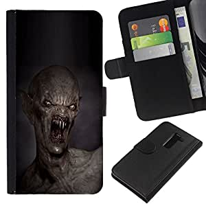 All Phone Most Case / Oferta Especial Cáscara Funda de cuero Monedero Cubierta de proteccion Caso / Wallet Case for LG G2 D800 // Teeth Kill Death Monster Creepy
