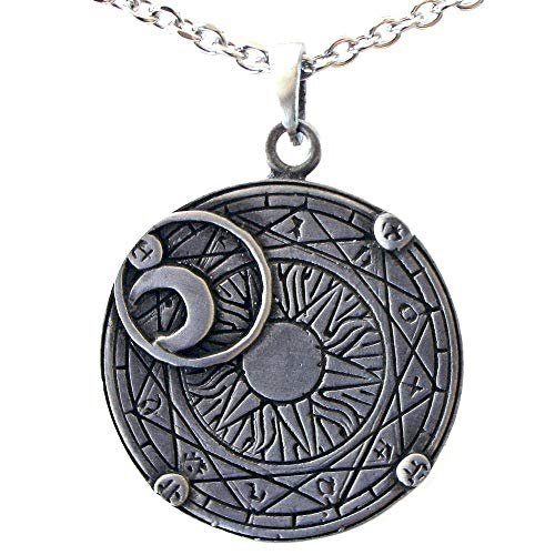 - OhDeal4U Sun Moon Eclipse Wheel of Zodiac Pewter Pendant Charm Amulet w Necklace (Stainless Steel Chain)
